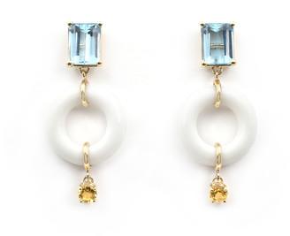 Munchkin Bondeye Jewelry Blue Topaz Earrings with Citrine Drops