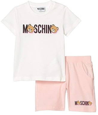 MOSCHINO BAMBINO Printed T-Shirt and Shorts Set (Infant/Toddler) (Rose) Girl's Active Sets