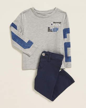 True Religion Newborn/Infant Boys) Two-Piece Logo Long Sleeve Tee & Pants Set