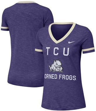 Nike Women's Heathered Purple TCU Horned Frogs Performance Cotton Slub Retro Fan V-Neck T-Shirt