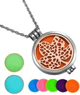 HooAMI Aromatherapy Essential Oil Diffuser Necklace Maple Leaf Locket Pendant,5 Colorful Pads+2 Noctilucent Pads