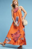 Anthropologie Guaiya Silk Maxi Dress, Orange