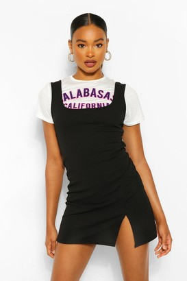 boohoo Graphic T-Shirt & Layered Slip Dress