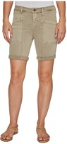 Liverpool Kylie Cargo Shorts with Flat Patch Pockets on Pigment Dyed Slub Stretch Twill in Pure Cashmere Women's Shorts