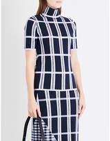Victoria Beckham Checked high-neck wool-blend top