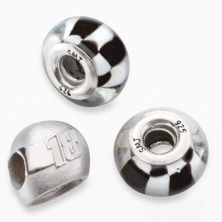"""Insignia Collection NASCAR Kyle Busch Sterling Silver """"18"""" Helmet & Checkered Flag Bead Set"""