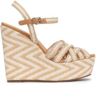 Schutz Leather-trimmed Woven Jute Wedge Sandals