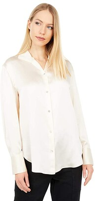 Vince Collar Stand Blouse (Chiffon) Women's Clothing