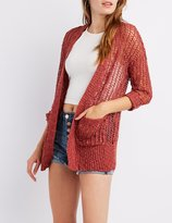 Charlotte Russe Open-Knit Open-Front Cardigan
