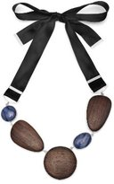 The Branch Jewellery Statement Rosewood, Ribbon and Blue Quartz Stone Necklace of 115cm