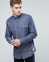 Jack and Jones Core Long Sleeve Slim Fit Chambray Shirt with Button Pocket