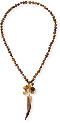 "Nest Jewelry Beaded Tigers Eye Horn Pendant Necklace, 32""L"