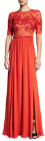 Jenny Packham Elbow-Sleeve Embellished Gown, Pumpkin