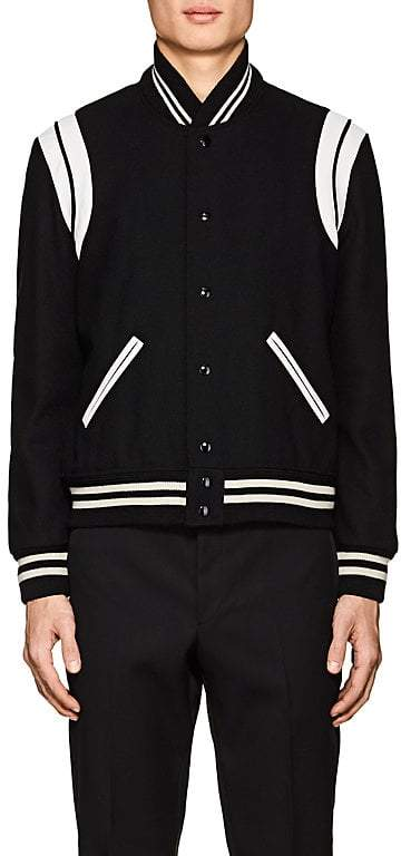 Saint Laurent Men's Classic Leather-Trimmed Wool-Blend Teddy Jacket