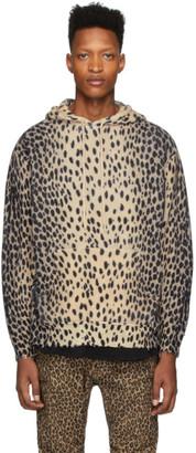 R 13 Beige Cashmere Cheetah Hoodie