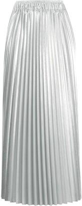 Nude Metallic Pleated Midi Skirt