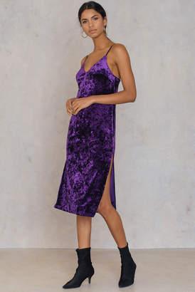 NA-KD Velvet Side Slit Dress Black
