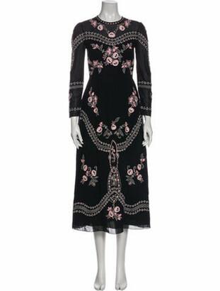 Vilshenko Floral Print Long Dress Black