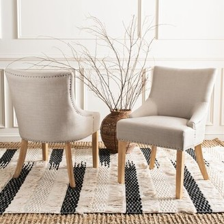 BEIGE Lotus Tufted Linen Upholstered Side Chair Willa Arlo Interiors Upholstery Color: Biscuit Beige, Leg Color: Pickled Oak