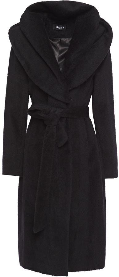 DKNY Belted Brushed Wool-blend Hooded Coat