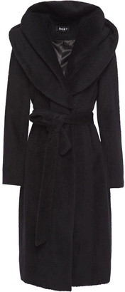 DKNY Belted Brushed Wool-blend Hooded Coat