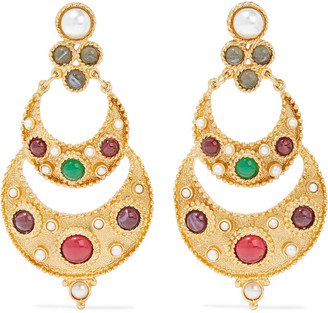 Ben-Amun 24-karat Gold-plated Stone And Faux Pearl Earrings