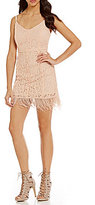 GB Lace Feather Trim Sheath Dress
