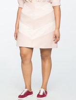 ELOQUII Plus Size Faux Leather Chevron Skirt