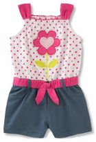 Kids Headquarters Little Girl's Floral Denim Romper
