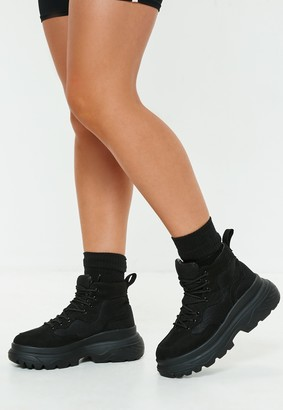 Missguided Black Double Sole Hiking Sneaker Boots