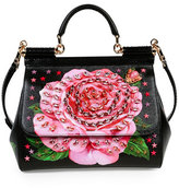 Dolce & Gabbana Miss Sicily Medium Leather Rose Satchel Bag