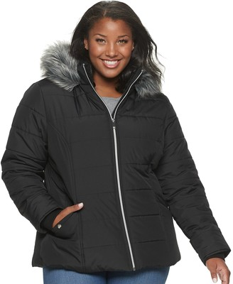Maralyn & Me Juniors' Plus Size Shape Fitting Back Quilt Puffer Jacket