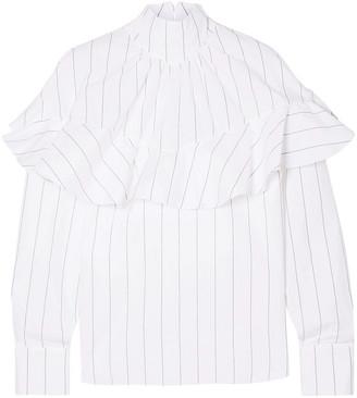 A.W.A.K.E. Mode Ruffled Pinstriped Cotton-poplin Blouse