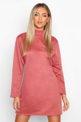 boohoo Funnel Neck Long Sleeve Sweatshirt Dress