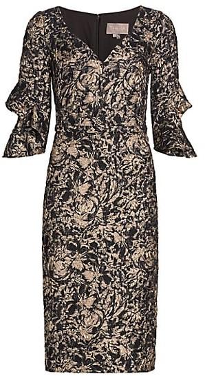 Theia Lightweight Cloque Ruffle-Sleeve Dress