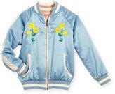 Stella McCartney Willow Reversible Embroidered Satin Bomber Jacket, Blue, Size 4-14