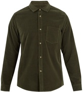 A.P.C. John patch-pocket cotton-velvet shirt