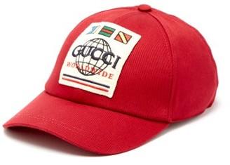Gucci Worldwide Logo Canvas Cap - Red