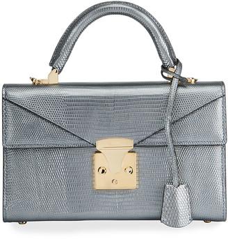 Stalvey Lizard 24K Gold 2.5 Small Top-Handle Bag, Charcoal