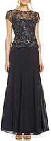 Pisarro Nights Chiffon Floral-Beaded Bodice Two-Piece Gown