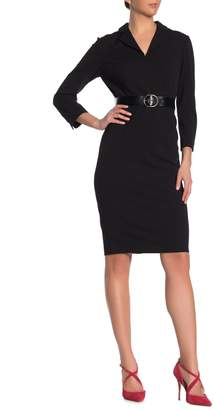 Calvin Klein Notch Collar 3/4 Sleeve Sheath Dress