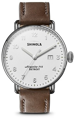 Shinola The Canfield Stainlesss Steel & Leather-Strap Watch
