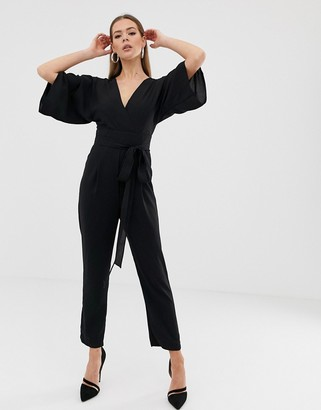 ASOS DESIGN jumpsuit with self belt and kimono sleeve
