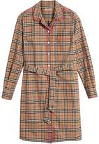 Burberry contrast piping check shirt dress