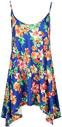 Fashion Star Womens Ladies Floral Sleeveless Strappy Hanky Hem Baggy Swing Flared Mini Top