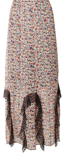 Anna Sui Scattered Flowers Point D'esprit-trimmed Floral-print Silk-chiffon Midi Skirt - Pink