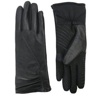 URBAN RESEARCH U|R Powered Women's Gathered Leather & Stretch Touchscreen Gloves