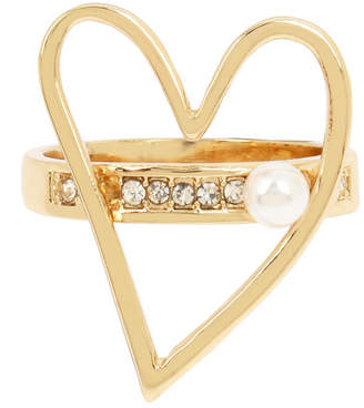 BCBGeneration Pearl Open Heart Ring