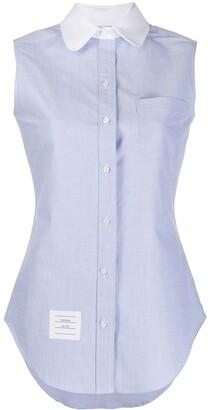 Thom Browne round collar sleeveless shirt