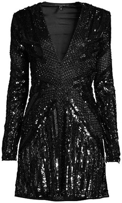 Rosa Cha Lily Sequin Beaded Mini Dress
